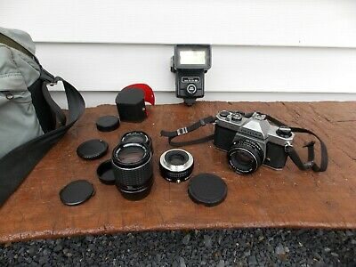 Vintage Asahi Pentax K1000 35mm SLR Film Camera with w/Tons of Extras