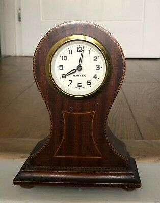 Edwardian German Mercedes Wooden/Inlaid Balloon Mantle Clock