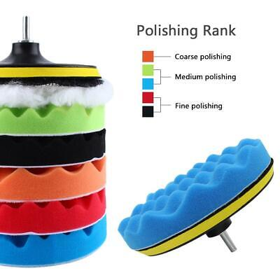 "7"" 30mm Polishing Sponge Waxing Buffing Pad Compound Auto Car Polisher Drill Kit"
