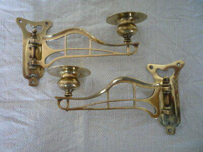 ~ Pair Antique Solid Brass Candlestick Holder Wall Sconce Piano Candle Reclaim ~