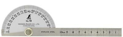 Shinwa japanese Stainless Steel Protractor with Round Head, silver