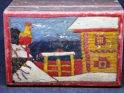 Antique Imperial Russian wooden box casket Carved Hand Painted