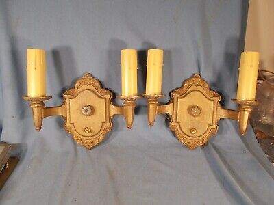 Vintage Pair of Embossed RIDDLE Co Electric Candle style Sconces circa 1930s