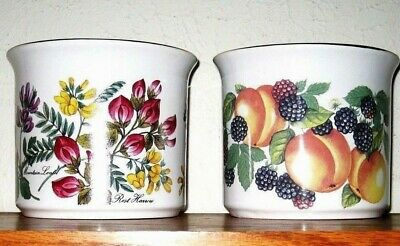 Lot of 2 Vintage Maryleigh Botanical Pottery Kitchen Utensil Jar Made in England