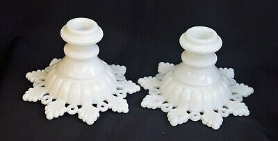 VTG Westmoreland Milk Glass Pair of  Candle Holders Ring & Petal
