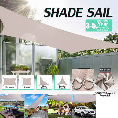Sun Shade Sail Outdoor Patio Pool Lawn Rectangle/Triangle Cover Block Canopy !