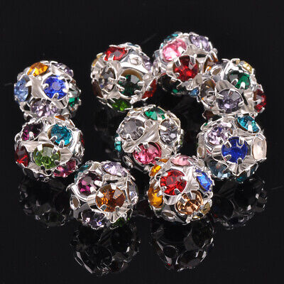 10pcs 12mm Round Mixed Colors Crystal Rhinestones Loose Silver Metal Beads lot