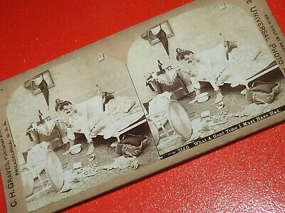 Bachelor Hangover Drunk Man Humorous Funny STEREOSCOPIC Antique Stereoview photo