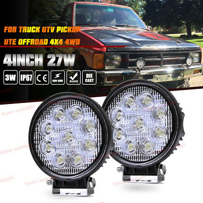 2X 4Inch 27W Round Flood Beam Led Work Light Driving Fog Lights Front Bumper SUV