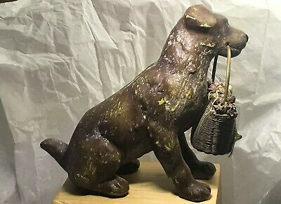 Antique French Metal Dog Figurine Sculpture Holding Brass Woven Shopping Basket