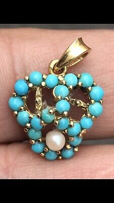 Anyique Solid 18ct Gold & 21 Islamic Persian Turquoise & Southsea Pearl Pendant