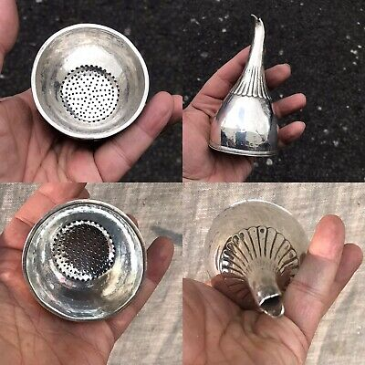 Antique 18th Cent Georgian Solid Silver Wine Or Drink Funnel London 1799 By NH
