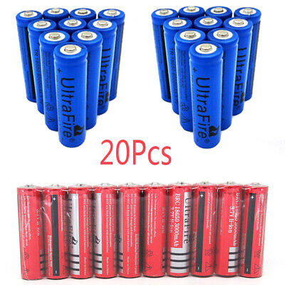 Blue Red 20*Ultrafire 6000mAh 18650 Battery 3.7V Lithium Rechargeable Batteries