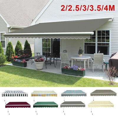 Retractable Awning Manual Outdoor Garden Canopy Patio Sun Shade Shelter 8 Colour