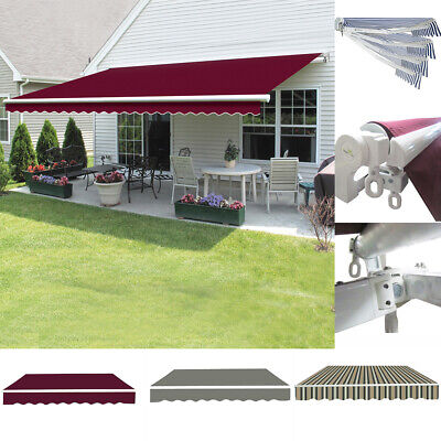 Patio Awning Manual Garden Sun Shade Retractable Shelter Canopy Angle Adjustable