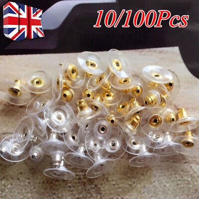 Pack of 10/100 Silver Plated and Plastic Earring Backs Ear Post Stoppers G