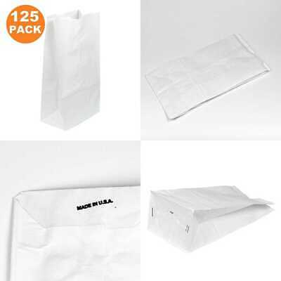 "20 LB 16 X 8 5.5"" Heavy Duty WHITE Paper Bags Grocery Lunch Retail Shopping Dura"