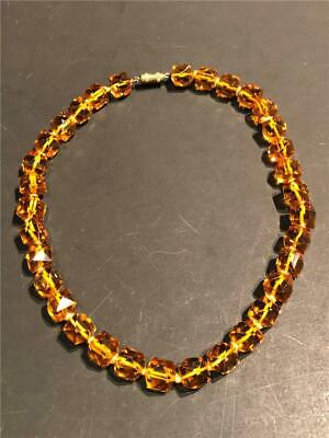 Vintage Art Deco Faceted Amber Crystal Bead Necklace