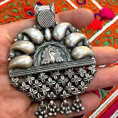 pendant ancient Afghanistan  silver rare antique vintage roman bird peacock