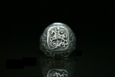 Ring Silber 84 St.George Zaren Russland Russian Imperial Russia Freikorps