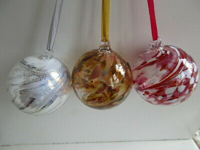 3 Assorted Glass Mouth Blown Spirit or Friendship Balls 8cm All Boxed Great Gift