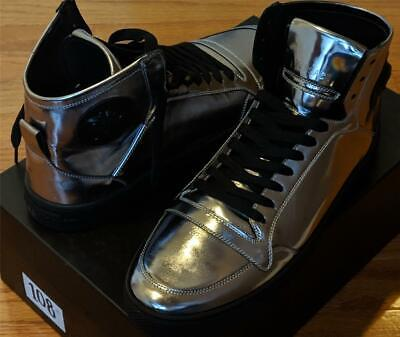 61e8cd69ef $875 Versace Collection Metallic Gunmetal High-Top Leather Sneakers 42 US 9