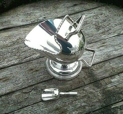 Vintage Silver Plated Sugar Salt Scuttle & Scoop Hand Engraved Made in England