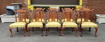 Set 10 Solid Carved Mahogany Chinese Chippendale Style Dining Room Chairs c1990s