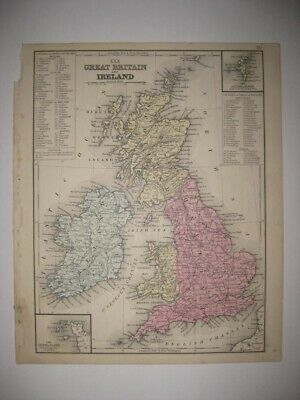 Antique 1870 Great Britain Ireland England Scotland Wales Handcolored Map Superb