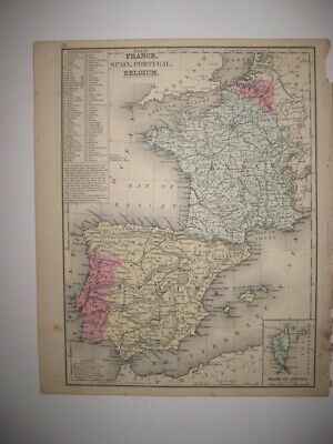 Antique 1870 France Spain Portugal Belgium Germany Handcolored Map Prussia Rare