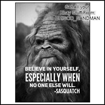 "Fridge Fun Refrigerator Magnet ""BELIEVE IN YOURSELF WHEN NO ONE WILL"" SASQUATCH"