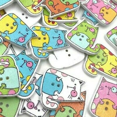 10 Novelty Cute Cat Wooden Buttons Kids Craft Knitting Toppers Cards