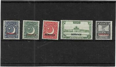 Pakistan 1949 Redrawn Official Full Set Sg.o27-31 Lightly Mint & Unmounted Mint
