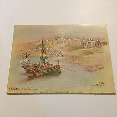 Vintage Greeting Card Christmas James Flux Holy Land Boat