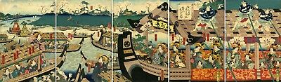 "Edo period KUNISADA II woodblock print: ""PLEASURE BOATS ON THE SUMIDA RIVER"""