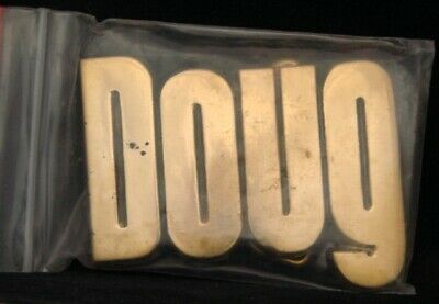 LF20114 *NOS* VINTAGE 1970s/80s CUT-OUT NAME ***DOUG*** SOLID BRASS BELT BUCKLE