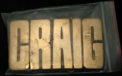 LF22123 *NOS* VINTAGE 1970s/80s CUT-OUT NAME ***CRAIG*** SOLID BRASS BELT BUCKLE