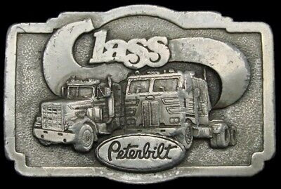 Kf20122 Great 1978 Vintage ***Peterbilt Class*** Trucks Pewter Belt Buckle