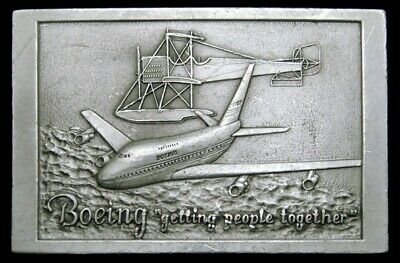 KD20133 VINTAGE 1970s **BOEING** GETTING PEOPLE TOGETHER AIRCRAFT BELT BUCKLE