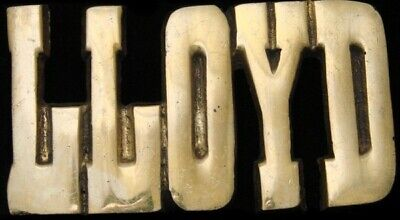 KJ08177 *NOS* VINTAGE 1970s CUT-OUT NAME ***LLOYD*** SOLID BRASS BUCKLE