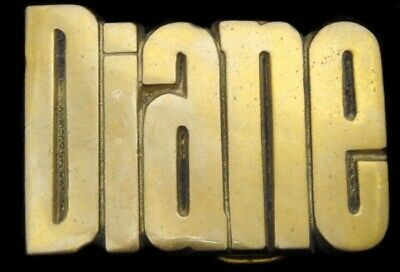 KK08109 *NOS* VINTAGE 1970s CUT-OUT NAME ***DIANE*** SOLID BRASS BUCKLE