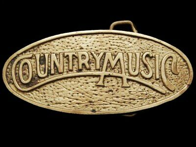 JI15162 COOL VINTAGE 1970s **COUNTRY MUSIC** OVAL SOLID BRASS BELT BUCKLE
