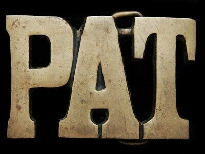 KF23148 VINTAGE 1970s CUT-OUT NAME ***PAT*** SOLID BRASS BELT BUCKLE