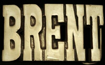 KJ08118 *NOS* VINTAGE 1970s CUT-OUT NAME ***BRENT*** SOLID BRASS BUCKLE