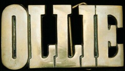 KJ08137 *NOS* VINTAGE 1970s CUT-OUT NAME ***OLLIE*** SOLID BRASS BUCKLE