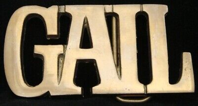 KK08110 *NOS* VINTAGE 1970s CUT-OUT NAME ***GAIL*** SOLID BRASS BUCKLE
