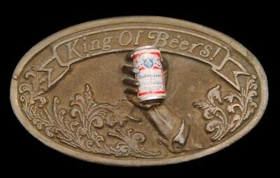 LC14182 TRULY AWESOME 1977 ***BUDWEISER BEER*** w/BEER CAN & HAND BELT BUCKLE