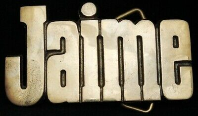 KJ08124 *NOS* VINTAGE 1970s CUT-OUT NAME ***JAIME*** SOLID BRASS BUCKLE