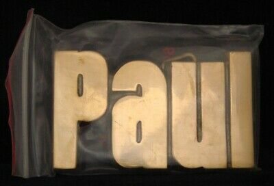 LF20175 *NOS* VINTAGE 1970s/80s CUT-OUT NAME ***PAUL*** SOLID BRASS BUCKLE