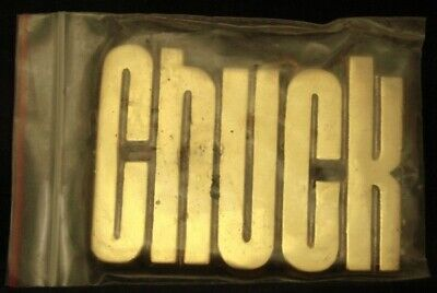 LF22120 *NOS* VINTAGE 1970s/80s CUT-OUT NAME ***CHUCK*** SOLID BRASS BUCKLE